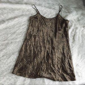Vintage Leopard Print Slip Dress Sleep Sexy Large